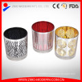 Printed Colourful Glass Candle Holder with Metal Handle