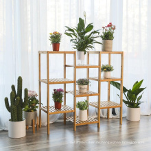 Bambus anpassbare Pflanze Stand Regal Blumentöpfe Halter Display Rack Utility Regal Badezimmer Rack 9-Tier Lagerregal Regale