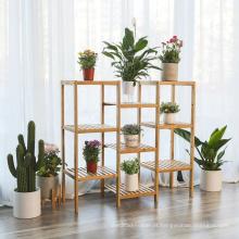 Planta de Bambu Customizável Stand Prateleira Vasos de Flores Titular Display Rack Prateleira Prateleira Do Banheiro Prateleira De Armazenamento Em Rack De 9-Tier