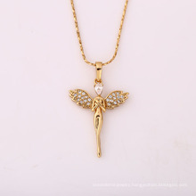 31455 Newest designed fashion gold Angel pendant pave crystal wings jewellery
