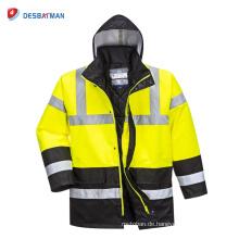 Hi-Vis-Regen-wasserdichte Verkehrsjacke, Arbeits-Sicherheits-Kleidung der hohen Sichtbarkeit mit Taschen EN20471 Klasse 3
