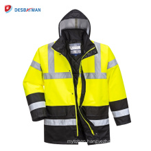 Hi-Vis Rain Waterproof Traffic Jacket, High Visibility Work Safety Clothing with Pockets EN20471 Class 3