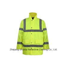 Vestuário de segurança impermeável de alta visibilidade, jaqueta de segurança Oxford