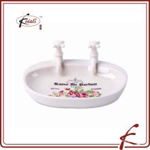 Jabonera de baño de cerámica única forma de lavabo con decorar decorar