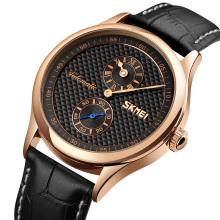 SKMEI 9238 Man Watch Leather Strap Automatic Mechanical Watch