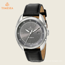 Men′s Stainless Steel and Black Leather Automatic Watch 72523