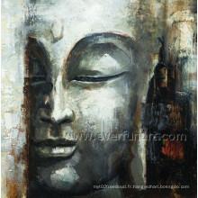 Huile sur toile décor en bois de mur en bouddha (BU-022)