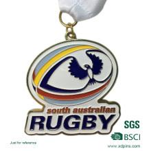 Personalizado de bronce estampado Soft Enamel Rugby Competition Award Medallas