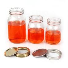 Wholesale custom 150ml to 2000ml clear wide mouth food storage glass mason jar with metal Split Type Lids