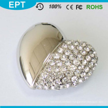 8GB Silver Crystal Heart Shape Jewelry USB Flash Drive with Necklace