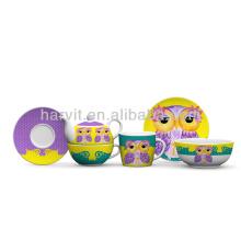 Ensemble de petit-déjeuner de porcelaine de hibou pour enfants