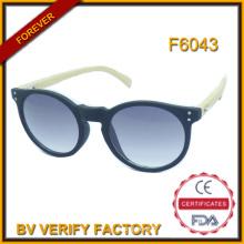 F6043 Lunettes de soleil pas cher cadre en plastique à la main et à la mode en bambou Temple