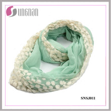 2015 High Quality Wild Stitching Lace Voile Infinity Scarf (SNSJ011)