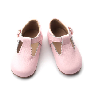 Venta al por mayor Pink Leather Baby Dress Shoes
