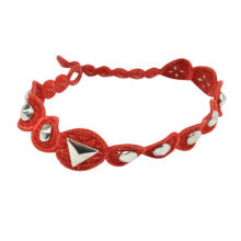 Bright red chic rivet design novelty fancy charmful lace bracelets with pearls, OEM/ODM
