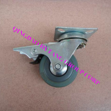 Gray rubber caster wheel with brake N120050DB