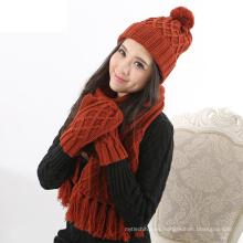 Fuente de fábrica hilo de lana Cálido grueso cable hecho punto bufanda y guantes de invierno Set