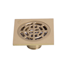 BSN 4 Inch Brass Square Polished Bathroom Siphon Floor Drain Strainer Chrome Plated