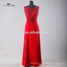 TE003 Elegante rojo ver a través de espalda ilusión suave vestido de fiesta de gasa