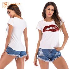 Frauen-Kurzarm-T-Shirts mit Lippenmuster