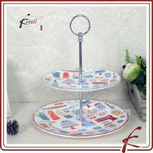 ceramic 2 tier cake plate