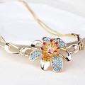 Wholesale alloy crystal flower necklace for women