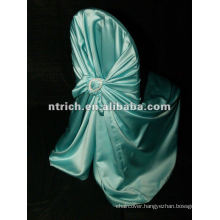 self-tie satin bag chair cover with diamond buckles