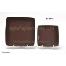 Brown Farbe Square Plate Set