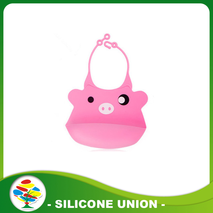 pink silicone baby bib