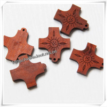 Wooden Cross Decoration with Different Carving Design (IO-cw029)