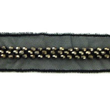 Bead trims, made of mesh and plastic bead, available in various sizes and colors