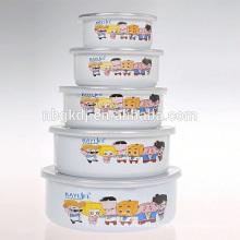 5Pcs korean style enamel ice bowl/ice bowl with PE lid