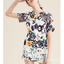 El último vestido impreso de las mujeres de la manga corta del garabato de Jacquard del verano