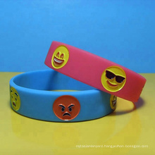 Funny debossed color filled facial expression wristbands/Lovely facial expression debossed bracelets