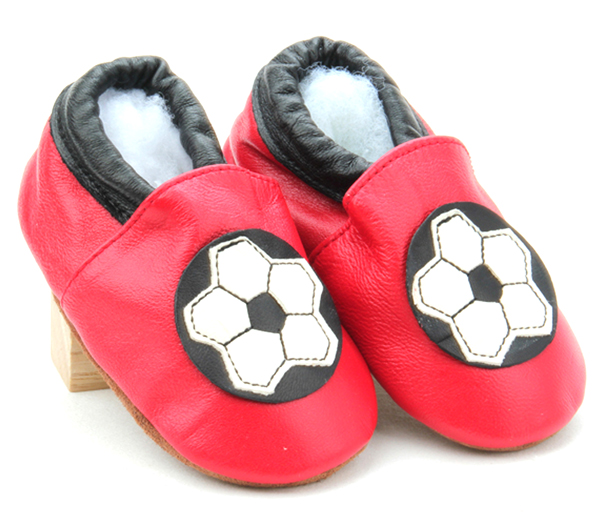 European Cup Soccer Pattern Baby Leather Shoes Customized