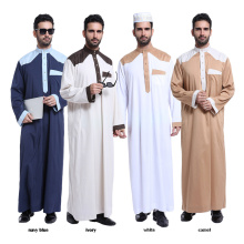 Venta caliente ropa islámica dubai abaya poliéster mezcla hombres musulmanes abaya
