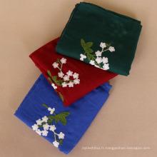 Nouvelle arrivée 130g prune fleur fleur broderie écharpe châle viscose écharpe femmes