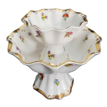 European style  9 inch Ceramic fruit bowl with gold rim  porcelain dry fruit tray with stand