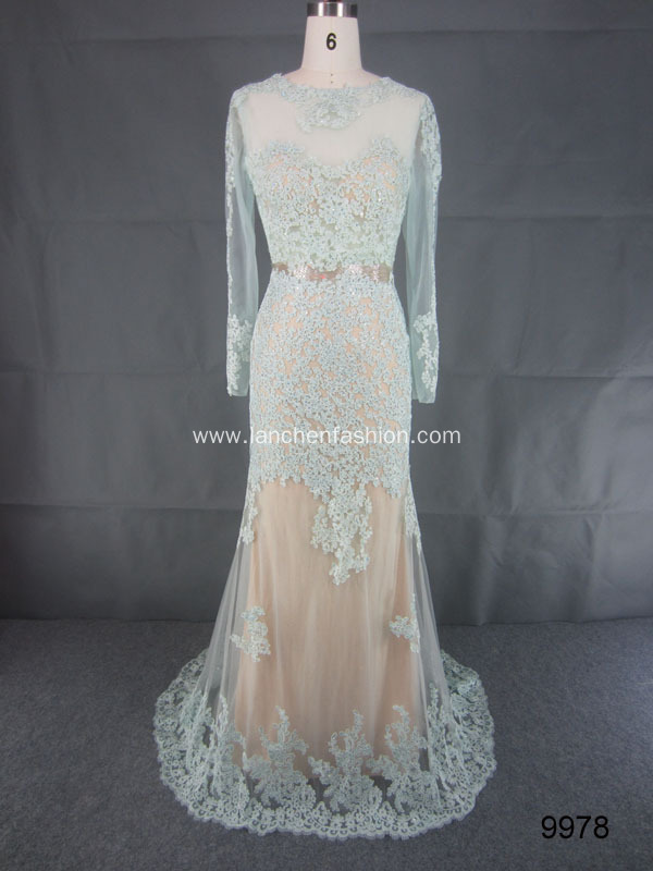 Noble Illusion Beaded Long Sleeve Wedding Dress