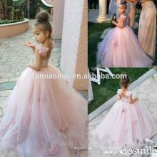 Vestidos de niña de tul sin mangas de encaje de tul rosa con vestido de primera comunión vestido de bola de Bow para niñas Vestidos de niñas de desfile