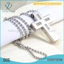 Alta calidad de plata de acero inoxidable cruz collar colgante para los hombres