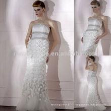 NY-2569 Best White Floral Cristaux Robe sans bretelles