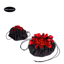 flower-shape round bottom drawstring satin bag pouch