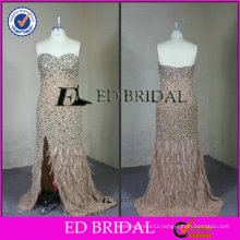 ED Bridal Real Sample Sweetheart Bling Crystal Ostrich Feather Evening Dress 2017