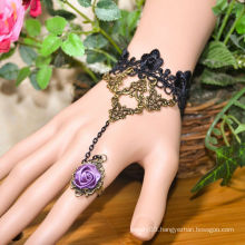 Facotry charms bracelet accesseries wholesale FC-37 black lace alloy super grape flowers chain bracelet