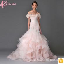 2017 vestidos nupciales de la boda del color de rosa de la sirena de hombro de encaje pesado Applique