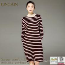 Heißer Verkaufs-Streifen-Frauen-Streifen-langes Hülsen-Kleid, Qualitäts-Stickerei A-zeichnen Kleid für Frau