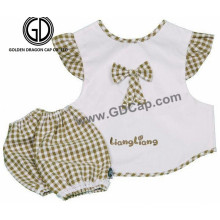 Cute Lovely Checked Children Kids Baby Apron with Sleeve Set