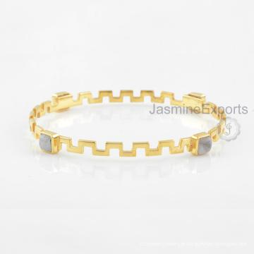 Bracelete de lua-de-lua de arco-íris artesanal, braceleiras de pedras preciosas de prata esterlina 925 para mulheres