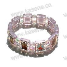 Epoxy Saint Image Plastic Rosary Bracelet